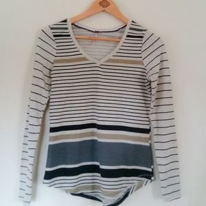 Poof Womens Striped V Neck Striped Tee